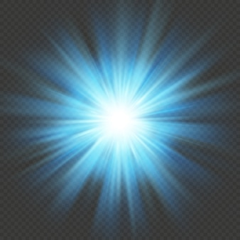 Blauwe gloed ster burst flare explosie lichteffect. geïsoleerd op transparante achtergrond.