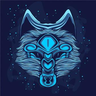 Blauwe gloedwolf aan de hemel