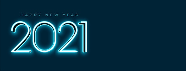 Blauwe gloeiende 2021 nieuwe jaar neon banner