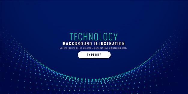 Blauwe gloeiende deeltje mesh technologie achtergrond