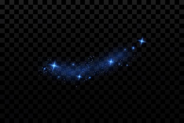 Blauwe gloeiende deeltjes sterren op transparant
