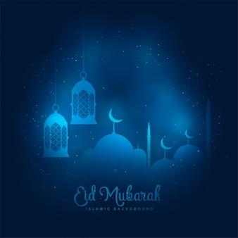 Blauwe gloeiende eid mubarak moskee en lantaarnachtergrond