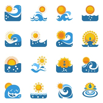 Blauwe golf met zon icons set