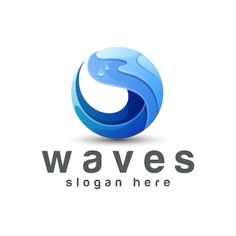 Blauwe golven verloop logo, oceaan, zomer logo vector ontwerpsjabloon