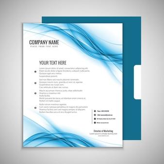 Blauwe golvende brochure