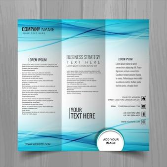 Blauwe golvende drieluik brochure