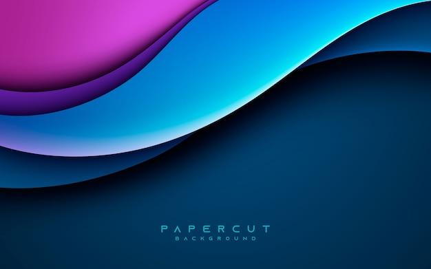 Blauwe golvende papercut trendy samenstelling als achtergrond