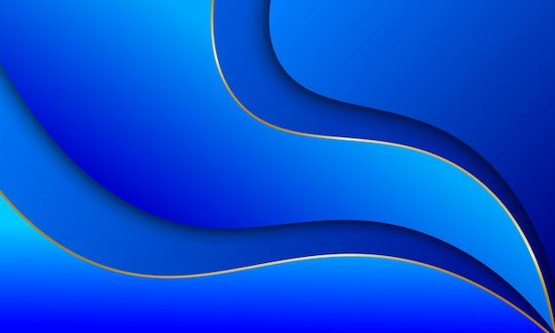 Blauwe golvende strepen met gouden lijnen en schaduwen achtergrond vectorillustratie