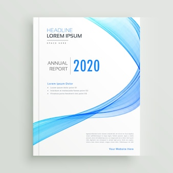 Blauwe golvende zakelijke brochure ontwerpsjabloon