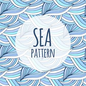 Blauwe golvenvector die achtergrond herhalen. doodle zee patroon