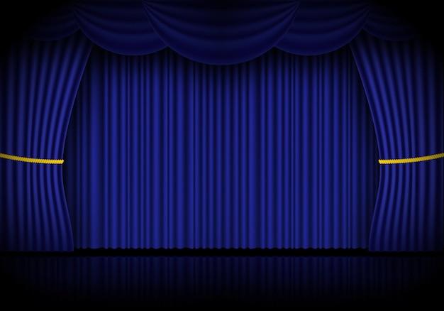 Blauwe gordijn opera, bioscoop of theater toneelgordijnen. schijnwerper op gesloten fluwelen gordijnen achtergrond. vector illustratie