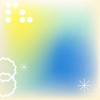 Blauwe gradiëntachtergrond in abstract memphis met retro rand