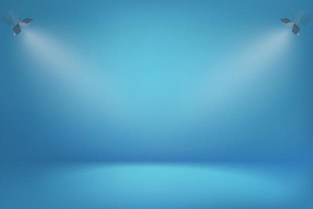 Blauwe gradiëntachtergrond met spotlichten minimalistisch behang met zacht lichteffect en schaduw