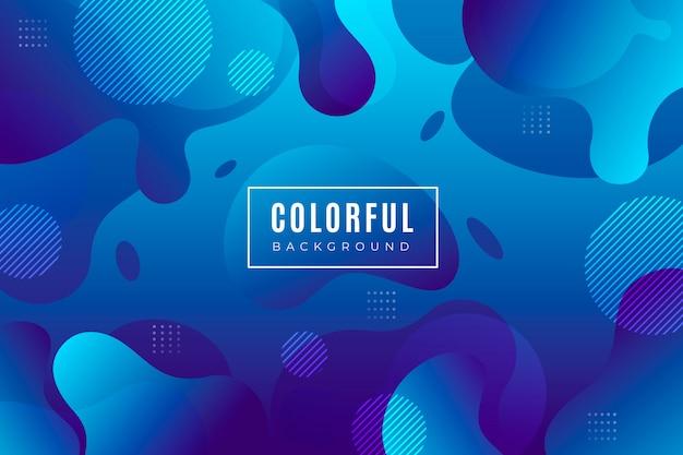 Blauwe gradiëntachtergrond met vloeibare vormen