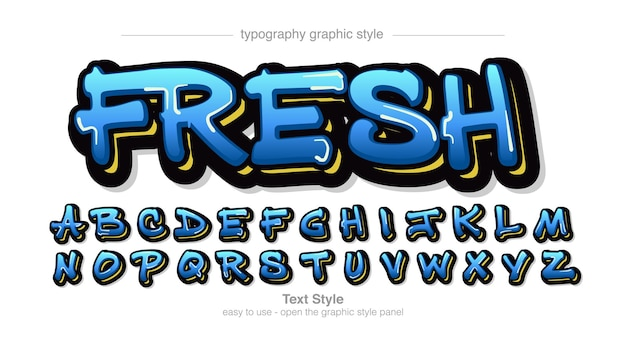 Blauwe graffiti moderne typografie