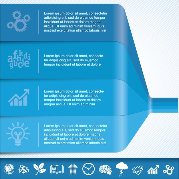 Blauwe grafieksjabloon voor infographics.
