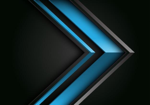 Blauwe grijze lijn pijl 3d-richting op zwarte lege ruimte achtergrond.