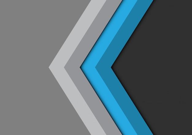 Blauwe grijze pijl richting achtergrond.