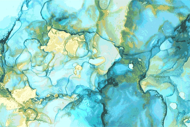 Blauwe, groene en gouden abstracte steen marmeren textuur in alcoholinkttechniek met glitter.