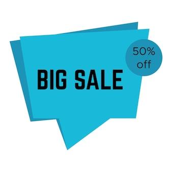 Blauwe grote verkoopsticker met tekst. verkoop labelsjabloon. vector illustratie