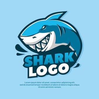Blauwe haai cartoon afbeelding logo