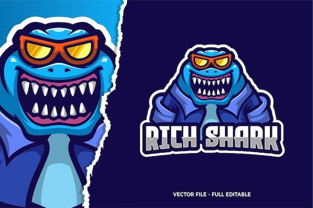 Blauwe haai esports game logo sjabloon