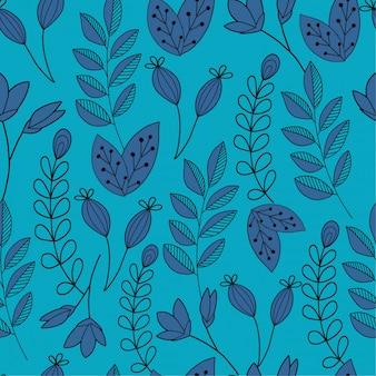 Blauwe hand getrokken plant patroon achtergrond