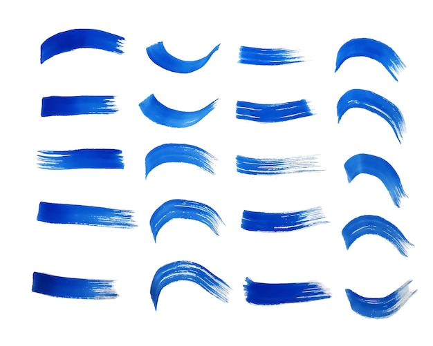 Blauwe handgeschilderde aquarel texturen set