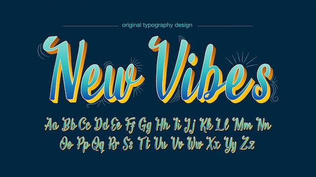Blauwe handgeschreven typografie