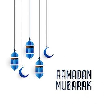 Blauwe hangning-lantaarn