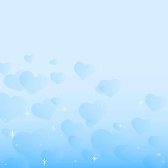 Blauwe hart zeepbel achtergrond