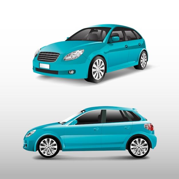 Blauwe hatchbackauto die op witte vector wordt geïsoleerd