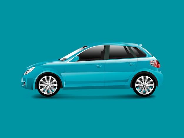 Blauwe hatchbackauto in een blauwe vector als achtergrond
