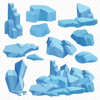 Blauwe heldere kristallen stenen instellen