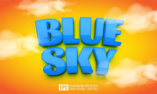 Blauwe hemel 3d tekst bewerkbare stijleffectsjabloon