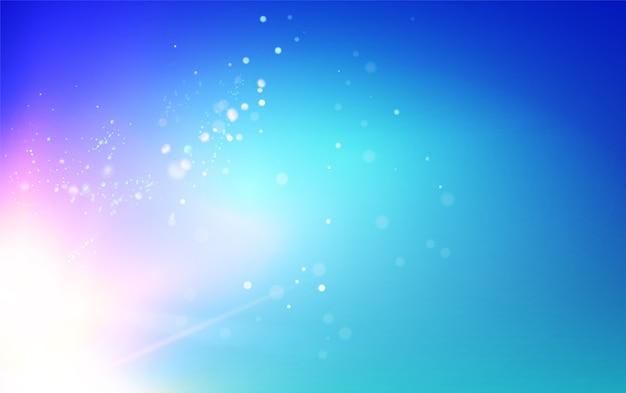 Blauwe hemel en abstracte lichte flitsachtergrond.