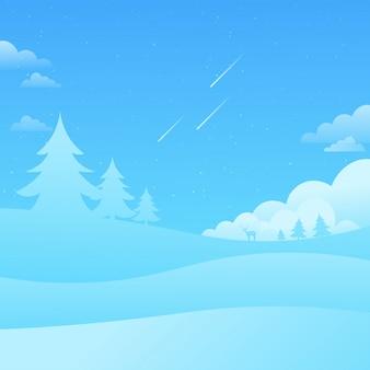 Blauwe hemel landschap vallende sterren aard achtergrond