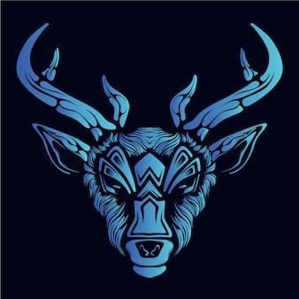 Blauwe herten hoofdillustratie