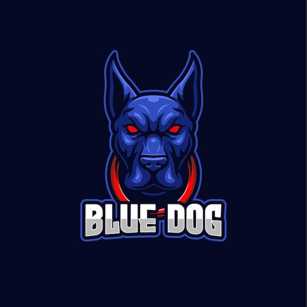 Blauwe hond esports logo mascotte sjabloon