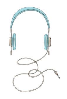 Blauwe hoofdtelefoons uitstekende hand getrokken vectorillustratie