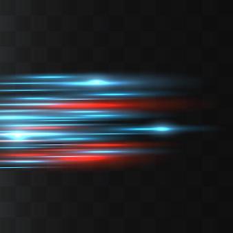 Blauwe horizontale lens flares pack. laserstralen, horizontale lichtstralen. gloeiende strepen op een donkere achtergrond.