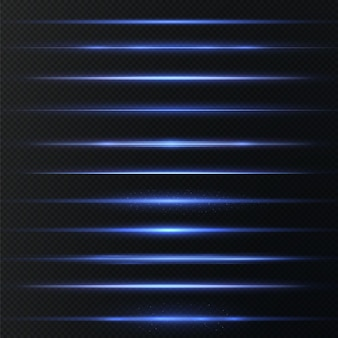Blauwe horizontale lens flares pack laserstralen horizontale lichtstralen mooie licht flares