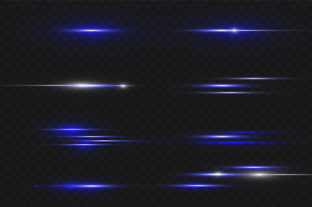 Blauwe horizontale lens flares pack. laserstralen, horizontale lichtstralen. mooie lichte fakkels. gloeiende strepen op donkere achtergrond. lichtgevende abstracte mousserende gevoerde achtergrond.