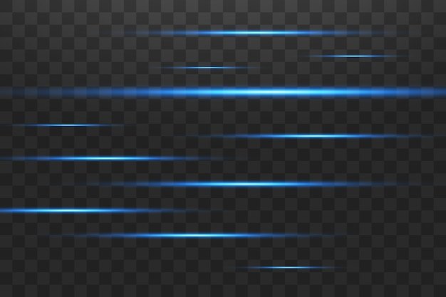 Blauwe horizontale lens flares pack. laserstralen, horizontale lichtstralen. mooie lichtfakkels. gloeiende strepen op een donkere achtergrond. lichtgevende abstracte sprankelende beklede achtergrond.