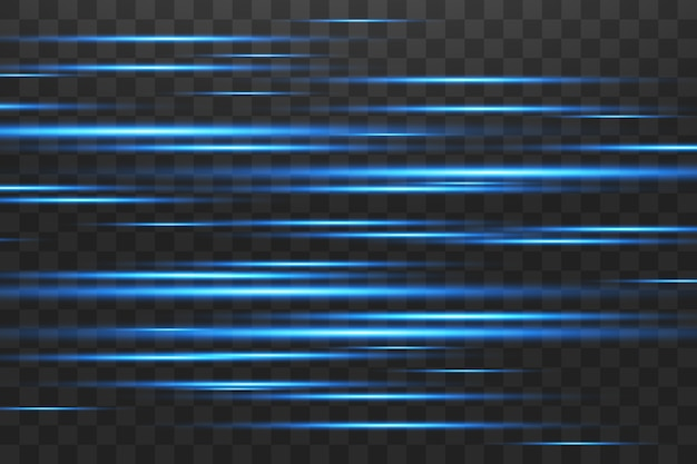 Blauwe horizontale lens flares pack. laserstralen, horizontale lichtstralen. mooie lichtfakkels.