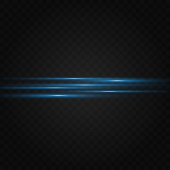 Blauwe horizontale lens flares pack. laserstralen, horizontale lichtstralen