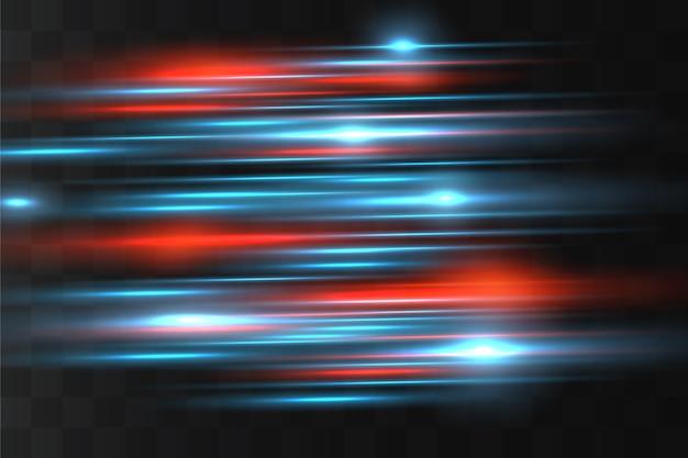Blauwe horizontale lens flares pack. laserstralen, horizontale lichtstralen.