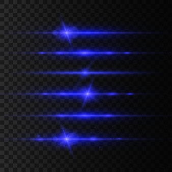 Blauwe horizontale lens flares pack, laserstralen, mooie lichtflare. lichtstralen. glow line, heldere schittering. gloeiende strepen. lichtgevend abstract sprankelend.