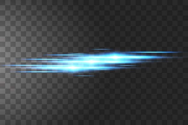 Blauwe horizontale lens flares pack. laserstralen,