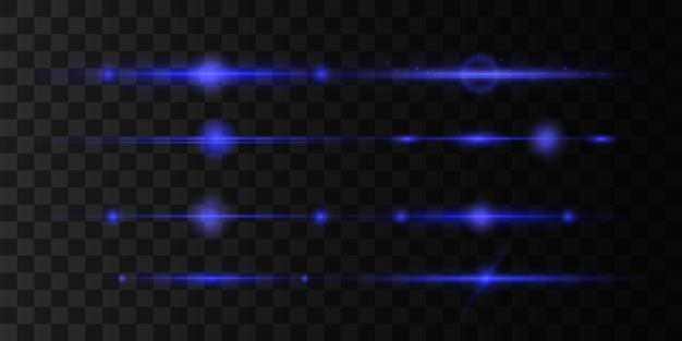 Blauwe horizontale lens flares set, laserstralen, mooie lichtflare.